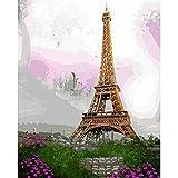 Pittura a Olio Digitale Fai-da-Te con Numeri Disegno Astratto Figura Tela Wall Art Erba Torre della metropolitana Fiore Viola Decorazione Domestica