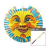 OLShop AG Set Laterne Sonne groß inkl. 50 cm LED Laternenstab Lampion Laternenumzug Lampionumzug Papierlampion Garten