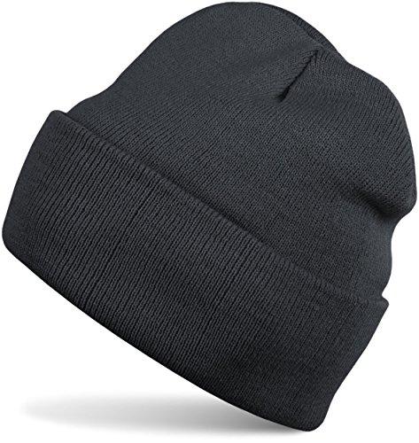 styleBREAKER classique Bonnet Tricoté, fine tricot, chaud, Unisexe 04024029 gris foncé