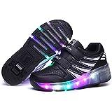Viken Azer-UK Chaussures à roulettes, 7 Colorés LED Chaussures Baskets pour Garçons et Filles Enfants Lumineuse avec Roue Chaussures de Sport (35 EU, Rose(2 Roues))