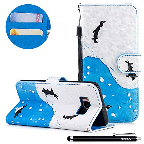 HUDDU Compatible for Bunt Handyhülle Samsung Galaxy S8 Leder Hülle Flip Wallet Case Ledertasche Kartenfach Magnet Stand Lederhülle Handy Cover Schutzhülle Tasche Leder Klapphülle Blau Weiß - Pinguin