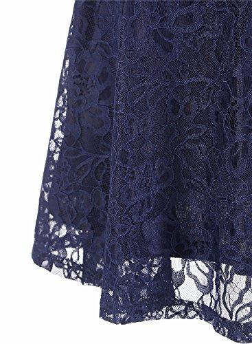 MuaDress Brautjungfernkleid aus Spitzen Kurz Damen Kleid Mit Knöpfe Cap Marineblau