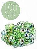 100 Stück Murmeln Glasmurmeln im Netz Glaskugeln Klicker Spielzeug Murmel Deko Dekoration Spielzeug für draußen Glas