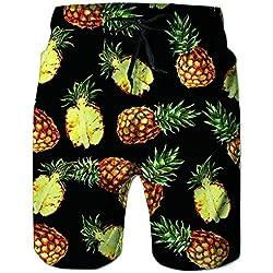 RAISEVERN Pantalones Cortos de piña de Hawai de los Hombres Ocasionales de la Playa de Colores Pantalones Azul Marino de