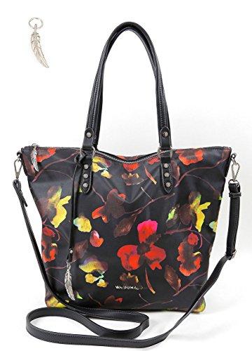 Handtasche von Waipuna aus hochwertigem Nylon, Schultertasche mit Schlüsselanhänger, Henkeltasche mit schönen, braunen PU-Leder Details, schwarz Blumendruck