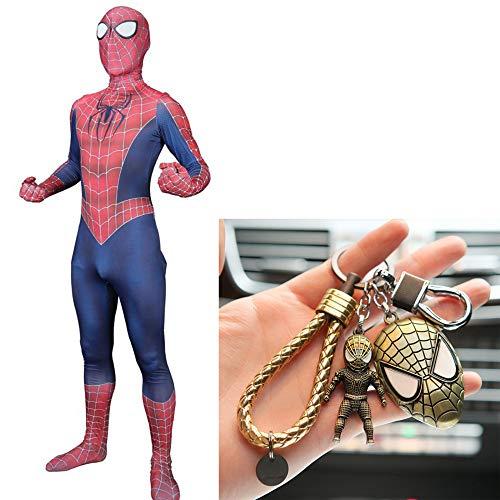 Kostüm 80's Classic - WERTYUH Spiderman Classic Style Kostüm Cosplay Kinder Kostümparty Kostüm Weihnachten Halloween Malerei Kleidung + Spiderman Keychain Set,Child-S