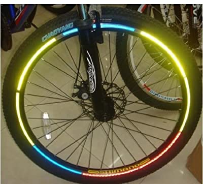 48 Stück Reflektorsticker Reflektor Aufkleber fürs Fahrrad Schultasche Kinderwagen Fahrradreifen Reflektorstreifen selbstklebend Leuchtstreifen 6 verschiedene Farben
