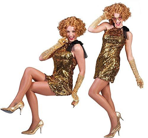 Showgirl Kostüm Celia Gold - Pailletten Kleid für Damen - Gr. 40 42 - 2
