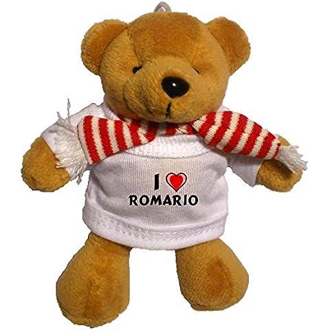 Llavero de oso marrón de peluche con Amo Romario en la camiseta (nombre de pila/apellido/apodo)