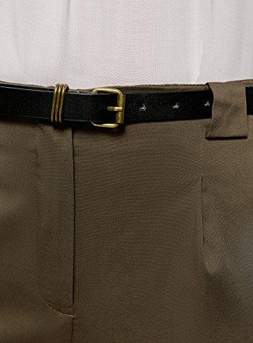 oodji Collection Damen Baumwoll-Hose mit Gürtel Grün (6800N)