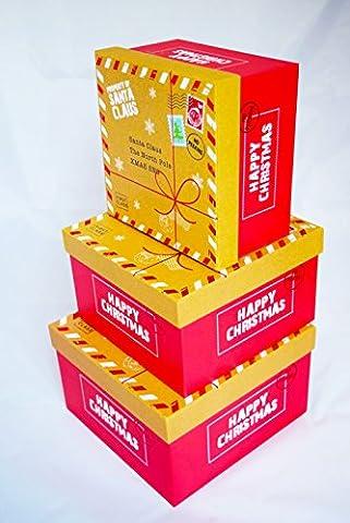 Merry Christmas Stapeln, Geschenk Box Set 3Pack Luxus Traditionelle Süße Weihnachts Boxen (Festliche Zitate Für Weihnachten)