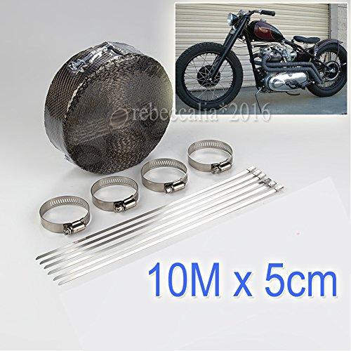 EMOTREE 10m Auto Motorrad Auspuff Hitzeschutzband Band bis 1400° Heat Wrap Krümmer mit 10 Metall Kabelbinder Schwarz