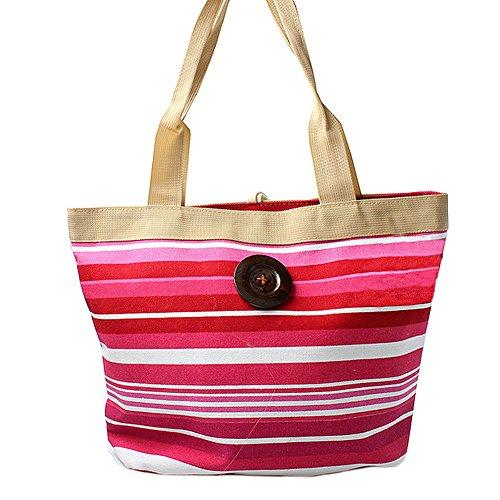 Women's, Pink und weiß gestreifte Strandtasche mit Knopf, (Strandtasche Gestreifte)