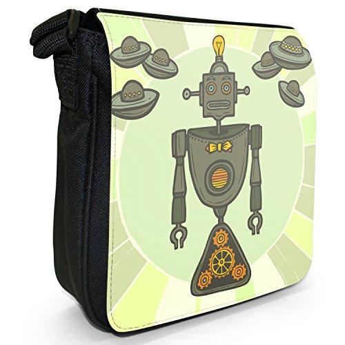 Robot motivo retrò Hipster-Borsa a tracolla in tela, piccola, colore: nero, taglia: S Nero (Green Lightbulb Hipster Robot)