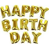 TRIXES Letras Tipo Balón Doradas HAPPY BIRTHDAY (FELIZ CUMPLEAÑOS)