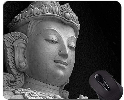 Spiel-Mausunterlage, Steinbuddha-Statuen-Skulptur-Mausunterlage mit genähter Kante