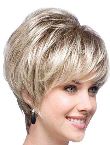 Tsnomore Mehr Stilvolle Shaggy Blonde Kurz Gerade Capless Synthetische Perücke