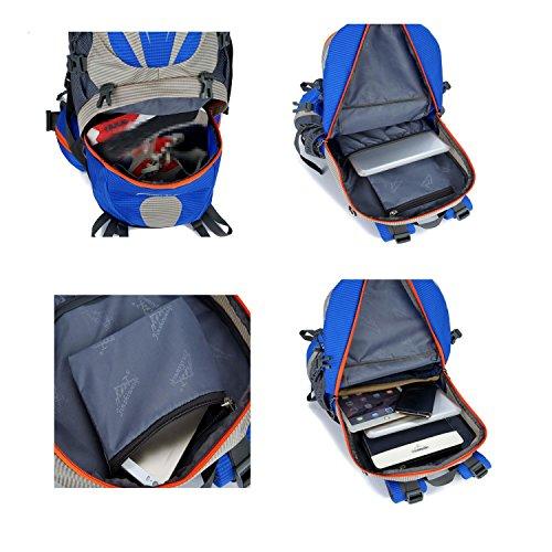 ucksack 50L wasserdicht Bergsteigen Rucksack Wandern reisen ritt Rucksack Multifunktions Outdoor Sports Pack Tasche H55 x L32 x T18 cm Blue