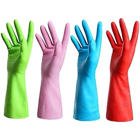 yalulu 4pares Lovely Vinilo reutilizable impermeable hogar antibacteriano guantes de látex para cocina lavandería para lavar platos de limpieza, tamaño