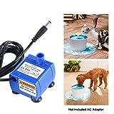 Pawaca Cat-Brunnen-Pumpe, Versenkbare Wasser-Pumpe für Haustier-Brunnen mit 5.9ft Stromkabel, Ersatz-Pumpe für Haustier-Brunnen-Klage für Meisten Katzen-Brunnen 1.6 L 2.0 L 2.5L