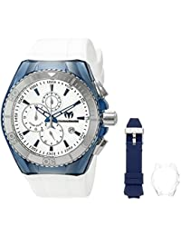 Technomarine Men's Quartz Watch with Silver Dial Analogue Display and Blue Silicone Strap TM-115052