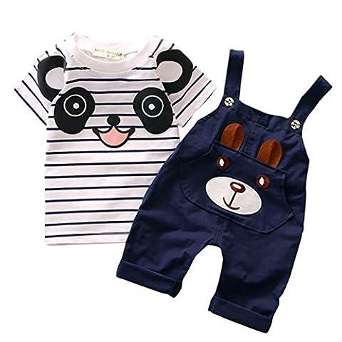 vêtements de garçon, SHOBDW Bébé ceintures enfant garçon ours rayé costume à manches courtes (Âge: 3-4 ans, marine)