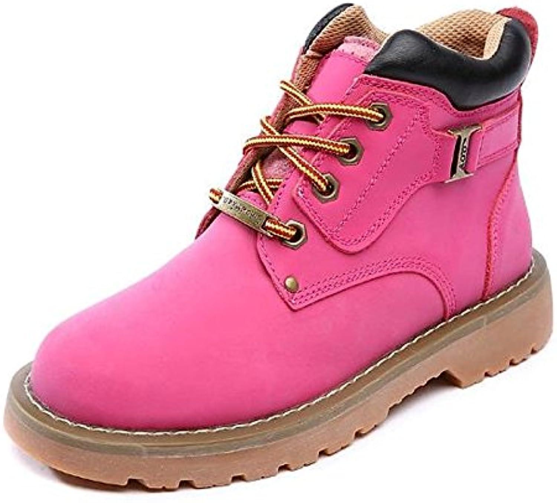 ZHZNVX HSXZ Zapatos de Mujer Otoño Invierno la Piel de Cerdo Botas Botas de Combate Chunky Talón Puntera Redonda...