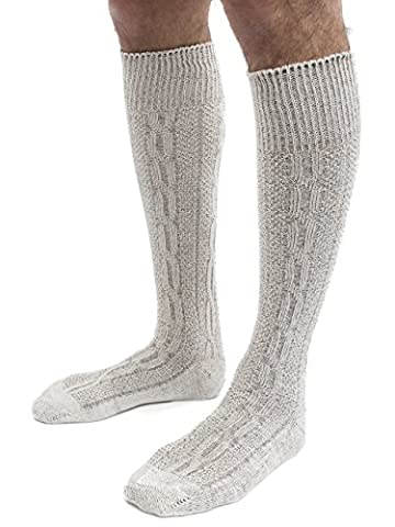 Trachtensocken Klassik Zopfmuster Trachten Strümpfe Lederhose Socken - weiss, beige,natur