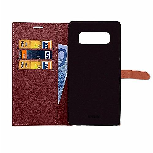 EKINHUI Case Cover Slim Premium PU Leder Geldbörse Hülle Flip Stand Schutzhülle mit Card Slots und Niet Gürtelschnalle Closure für Samsung Galaxy Note 8 ( Color : Rose ) Wine