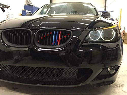 B M W SERIE 5 E60 E61 m5,11 Bars 2004-2010 M Power M Sport Tech Motorhaube Kapuze Nieren Kühlergrill Grill Trim Schnalle Clip in fügt Stripe Streifen Cover Decor Stil Bmw Power-antenne