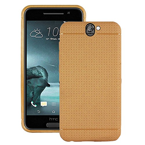 Heartly New Retro Dotted Design Hole Soft TPU Matte Bumper Back Case Cover For HTC One A9 - Mobile Gold