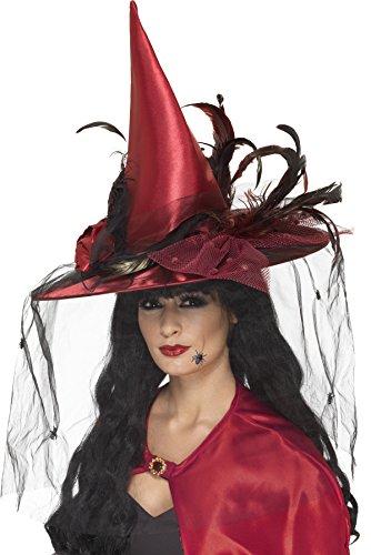 Federn Hexe Hut Schwarz (Smiffys, Damen Hexen Hut mit Netz und Federn, One Size, Rot,)