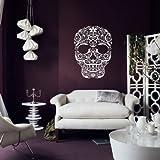 Loud Designs Sucre Tête de Mort Décoration Murale Stickers muraux en Vinyle géant Grande Tailles de 4x Noir, d'autres Couleurs Disponibles à la Demande, Noir, Extra Large 85cm(W) X 118cm(H)