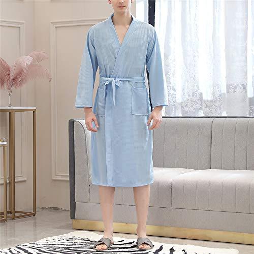 DUJUN Kurz Bademantel Kimono Baumwolle Saunamantel Robe Mit V-Ausschnitt Sommer,Dünnschliff aus wasserabsorbierendem und schnell trocknendem Männer- und Frauen-Pärchen-Gewand Tianlan Male XL -