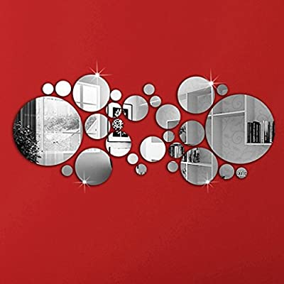 OMGAI Round Mirror Setting Wall Sticker Decal Home Decoration