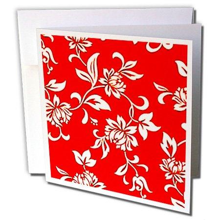3drose Hibiskus Blume auf Rot–Grußkarten, 15,2x 15,2cm, Set 12(GC _ 1064_ - Hibiskus-blumen Papier
