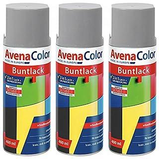 3 x Avena Color 2in1 Buntlack Spraydose Lackspray Grau