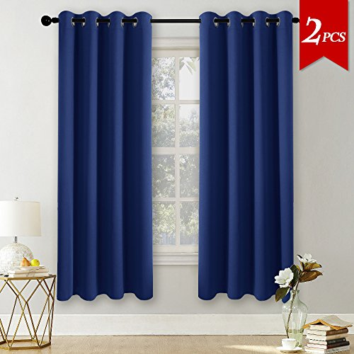 Pony dance tende corte blu da sola per camera da letto cucina, 140 x 175 cm (larghezza x lungo), 2 pezzi
