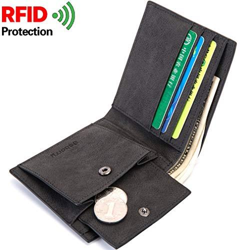 YQXR Geldbörsen und Clips, Geldbörsen-Kurzschlussmappe PU-Mappen-Geldbeutel-RFID-Münzen-Beutel der Männer (Color : Black, Size : S)
