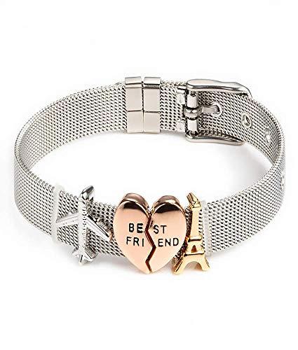 Entzückt | Silber Armband für Freunde | Individuelle Anhänger | Charms austauschbar | aus Edelstahl veredelt | Größenverstellbar | Bracelet Armband |(Freunde überall - Silber) -