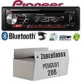 Peugeot 206 - Autoradio Radio Pioneer DEH-S3000BT - Bluetooth | CD | MP3 | USB | Android Einbauzubehör - Einbauset