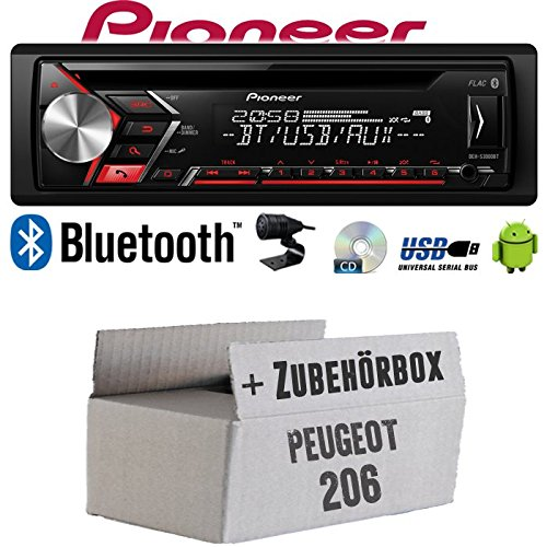 Autoradio Radio Pioneer DEH-S3000BT - Bluetooth | CD | MP3 | USB | Android Einbauzubehör - Einbauset für Peugeot 206 - JUST SOUND best choice for caraudio