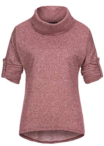 Styleboom Fashion® Damen Top Turn-Up Sweater Rollkragen Shirt Bordeaux rot Melange, Gr:XL