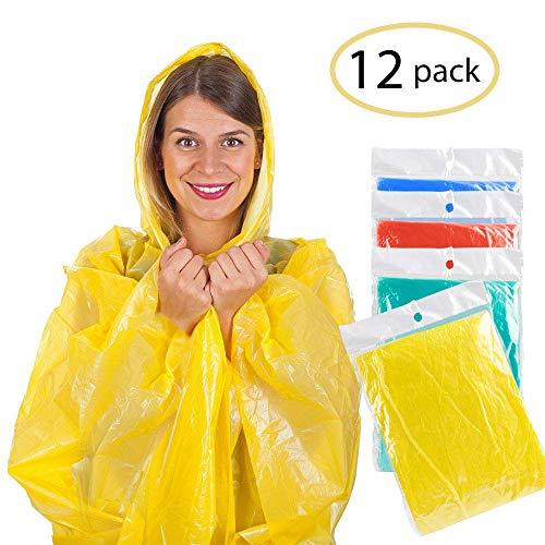 AODOOR Regenponcho mit Kaputze, Poncho Regenmäntel Wasserdicht Unisex-Erwachsene Notfall wiederverwendbar Regen Wasserdicht Poncho mit Kapuze (12 Pack) -