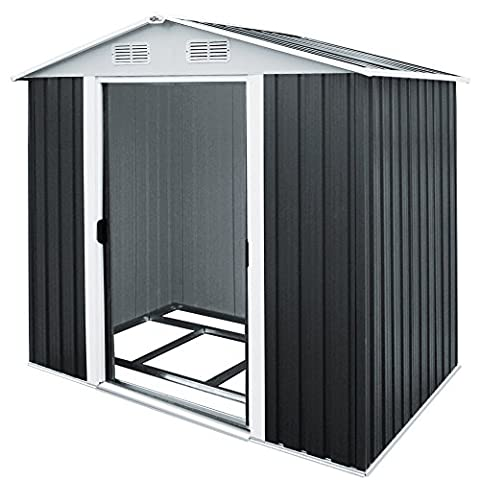 4.5m³ Metal Tool Shed - Garden Storage House with Apex Roof - FREE aluminum Base 6.5 x 4 Ft.