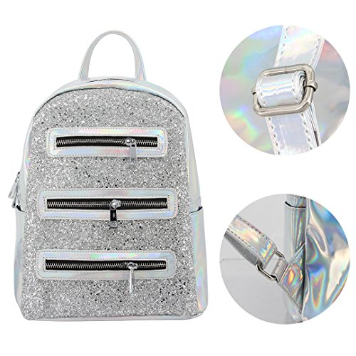 Novias Boutique Frauen Mädchen Shiny Hologramm Rucksack Schultertasche Schultasche Party Reisetasche (Pink) silber