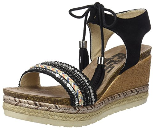 Refresh 64086, Sandali Punta Aperta Donna Nero (Black)