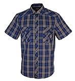 Rock-It Kariertes Herren Kurzarm Hemd Check Worker Hemd Worker Shirt Freizeithemd Arbeitshemd Made in Europa Größen S-5XL Farbe Grau/Blau X-Large