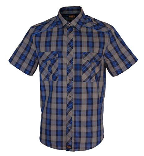 Rock-It Kariertes Herren Kurzarm Hemd Check Worker Hemd Worker Shirt Freizeithemd Arbeitshemd Made in Europa Größen S-5XL Farbe Grau/Blau 4X-Large