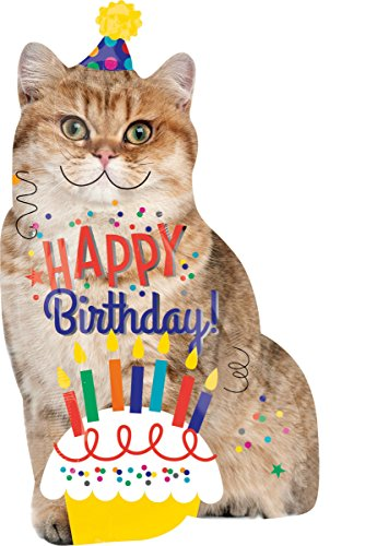 Amscan 3539401 Folienballon Super Shape Happy Birthday Katze